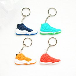 Wholesale Mini Sneaker Chain - 17 Color Mini retro 11 wholesale Keychain For Men Woman Silicone Sneaker Key Chain Key Ring Key Holder Gifts Keychain