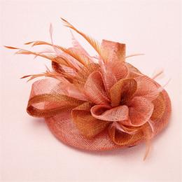 Wholesale bridal veil hair clip - Wedding Bridal Rust Red Pillbox Hat Cap Feather Headpieces Veil New Church Derby Fascinators Hair Accessories Clips Women Prom Hair Jewelry