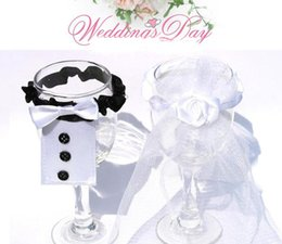 Wholesale Wholesale Wine Glassware - lastest Groom Dress 2groom+2bride Glassware Wedding Wine Glass Champagne Cup Cover Decoration(pack of 4)