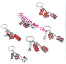Wholesale London Keychain - Creative Metal london style string keychain key chain key holder pattern guitar Bus Flag Union Jack Keyring