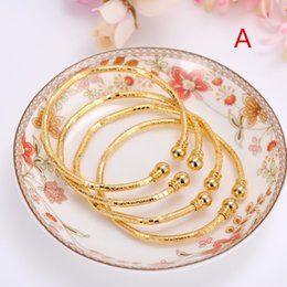 Wholesale 24k Gold Wedding Bangles - Wholesale- 24k Gold Bangle for Women Gold Dubai Bride Wedding Ethiopian Bracelet Africa Bangle Arab Jewelry Gold Charm kids Bracelet