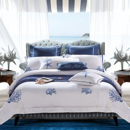 Wholesale Embroidery Linen Cushion Cover - Wholesale- 4 6Pcs Egypt Cotton Queen King Size White Bedding set Hotel bed linen Embroidery silky Duvet cover set Pillowcases Cushion cover