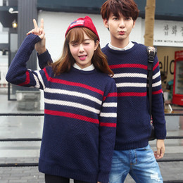 Wholesale Autumn Colored Sweaters - Wholesale-couple clothes Colored Full Sleeves Pull Homme Autumn 2016 Men And Women Sweater couples matching Striped pull homme marque