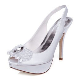 Wholesale Bridal Shoes China - Stiletto Heel Ivory Wedding Dress shoe high heel upper shoes party evening shoes bridal wedding shoes with bow Size 40 made in China