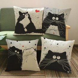 Wholesale Patchwork Sofa Covers - Black And White Cat Cartoon Sofa Throw Pillow Covers Home Decor Thick Cotton Linen Cushion Cover For Chairs almofada cojines