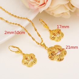 Wholesale 9k Pendant - NEW Specific character Vogue Necklace Pendant Earrings Jewelry Set pure Ethiopian Party Gift 9k Solid Fine Gold FINISH Fashion Classics