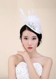 Wholesale Vintage Veil Headband - Vintage Women Bridal Hair Accessory Headband Party Evening Lace Flower Feather Veiling Bridal Hair Accessory