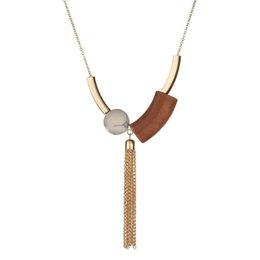Collar de modo online-Nuevo Cobre Blanco Faux Stone Colgante de Madera Largo de Oro Cadena de Eslabones de Metal Borla de Moda Collares Femme Joyería