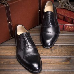 Wholesale Shoe Welt - Wholesale-2016 Luxury mens goodyear welt dress shoes bespoke boss suit shoes elegant mens church shoes italian hand crafted gents shoes