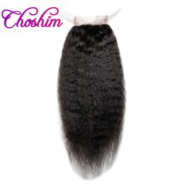 brazilian human hair side closure Coupons - Choshim KL 4x4 Kinky Straight Lace Closure Human Hair Natural Color Brazilian Remy Hair Free Part Bleached Knots With Baby Hair