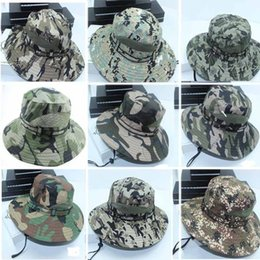 Wholesale Camouflage Outdoor Hats - 2016 New Men Fashion Outdoor Camouflage Summer Sunshade Caps Wide Brim Breathable Fishing Hat Free Shipping