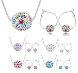 Wholesale Earring Multicolor Crystals - Austrian crystal ball full silver plated jewelry set pendant necklace and earrings multicolor optional 5 colors