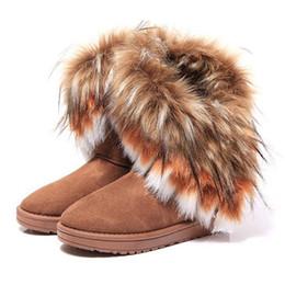Wholesale Ladies Long Fur Boots - Fashion Fox Fur Warm Autumn Winter Wedges Snow Women Boots Shoes GenuineI Mitation Lady Short Boots Casual Long Snow Shoes