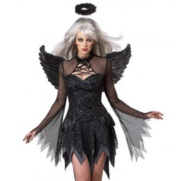Wholesale Mesh Hem Dress - Fantasia New Black Fallen Angel Costume Transparent Mesh Long Sleeve Irregular Hem Fancy Dress Dark Angel Halloween Costume W548650