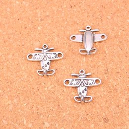 Wholesale Airplane Charms - 100pcs Antique Silver Plated airplane plane Charms Pendants for European Bracelet Jewelry Making DIY Handmade 18*19mm