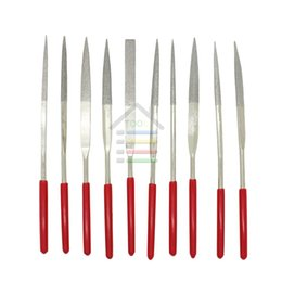 Wholesale Red Files - Assorted Red Diamond Needle File Set Sharpening 4x160mm Jeweler Diamond Gringding Carving Craft Tool Metal Glass Stone 10pcs Set order<$18no