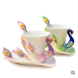 Wholesale Enamel Peacock Cup Set - ceramic mugs exquisite peacock high quality porcelain enamel coffer tea water cup with saucer spoon 2 pcs set free shipping F-37