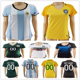 Wholesale Army Girl - Women Soccer Jersey Colombia Yellow Brazil Blue Mexico Green White Argentina Japan Home Away Ladies Girls Football Jerseys Shirts