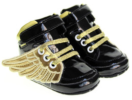 Wholesale Baby Girl Crib Boots - New Fashion cute PU Leather Baby Boys Girls Prewalker Shoes Toddler Angel Wings Babe Crib First Walkers Boots Footwear 0-1T