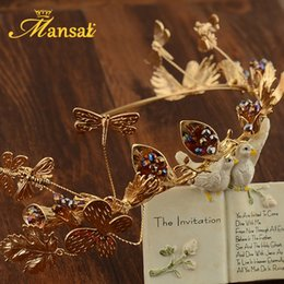Wholesale Dragonfly Hair - Super Upscale Bridal Tiara Braroque Hairband Butterfly Dragonfly Tiaras And Crowns Handmade Hair Jewelry Fairy Hairwear Sg 210