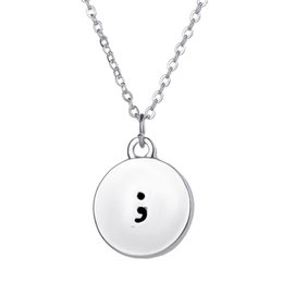 Wholesale Simple Statement Necklaces - Sample Charm Pendant Necklace Punctuation Semicolon Hand Stamped Disc Statement Simple Necklaces For women and men Christmas gift 5