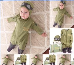 Wholesale Hooded Gloves - 2016 autumn new style baby rompers kids suits one-piece hoodies pilot jumpsuits infant Climbing clothes No gloves C1442