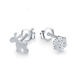 Wholesale Gold Snowflake Stud Earrings - Plated Silver Plating Deer Snowflake Stud Earrings Christmas Fashion Nice C00308 CAD