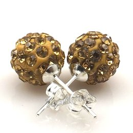 Wholesale Gold Plated Stud Ball Earring - 10mm Light Gold Disco Balls Crystal Shamballa Earring Studs For Promotion 20 Pairs Wholesale Drop Shipping