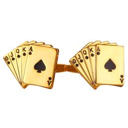 18e6bad65b9 Homens especiais Botões de Punho Gemelos Cartas de Poker Estilo 18 K  Banhado A Ouro   Platinadas Camisa Acessórios de Jóias de Casamento homens  de poker ...