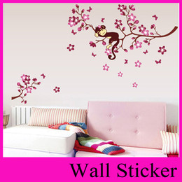 Wholesale Monkey Wall Papers - ZY7020 DIY pink branch animal monkey vinyl wall stickers for kids rooms boys girl wall papers home decor child sticker wall decor