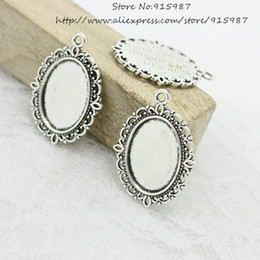 Wholesale Cameo Frame Oval - Free Shipping 40pcs lot Antique silver Tone Oval filigree Frame Cameo Settings 22*30mm (Fit 13*18mm) D0775