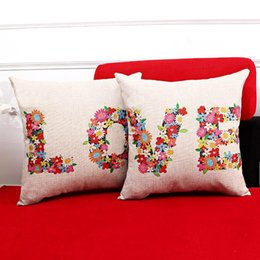 Wholesale couples chair - 45cm Thicker Red Love Couples Wedding Gift Cotton Linen Fabric Throw Pillow 18inch Fashion Hotal Office Bedroom Decorate Sofa Chair Cushion
