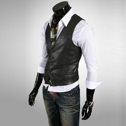 Wholesale China Brand Suits - Wholesale-2016 Fashion Mens Leather Vest Business American Style Men Suit Vests Men Casual Leather Vest New China Branding Clothes S1658