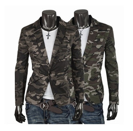 Wholesale Slim Suit Small Men - Male Classic Single Breasted Suit Camouflage Cotton Slim Small Suits Military Style Men Blazers