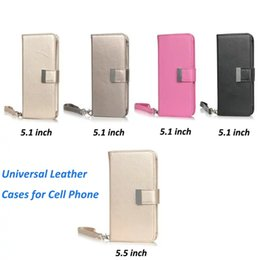 Wholesale Universal Smartphone Wallet Case - Universal Wallet Case For iPhone 6 6S 7 Plus Wallet Leather Cases for Samsung S6 S7 Edge Smartphone Phones 5.1inch 5.5inch