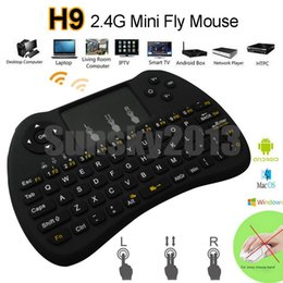 Wholesale Iptv Remote - H9 2.4GHz Fly Air Mouse Wireless Mini QWERTY Keyboard with Touch Pad Android TV Box Remote Control 360 Xbox Gamepad Controllerl for IPTV