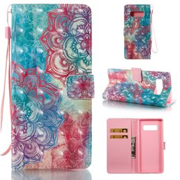 Wholesale Figure Apple - PU leather Flip Case For Samsung note 8 with Lanyard Holder and Car Bag 44 styles Cartoon Flower Figure