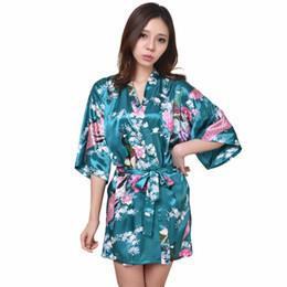 Wholesale Growing Wedding Flowers - Wholesale- Dark Green Lady Yukata Robe Dress Sexy Mini Kimono Bathrobe Wedding Bridesmaid Night Grown Flower Oversize S To XXXL RB1026