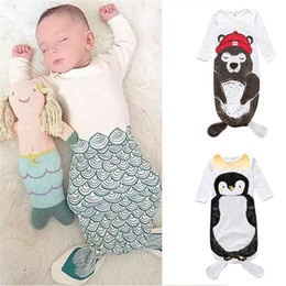 Wholesale Pajamas Long Sleeve Baby Sleepwear - INS Baby Sleeping Bag Infant Newborn Cartoon Bear Penguin Mermaid Floral Sleeping Bag Boys Girls Warm Long Sleeves Pajamas Sleepwear 844