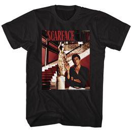 Wholesale Black Man Statue - SCARFACE STATUE STAIRS BLACK T-Shirt Print T-Shirt Harajuku Short Sleeve Men Top