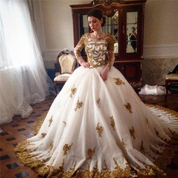 Wholesale Long Court Train Lace - Sparkly Ball Gown Wedding Dresses Beaded Gold Lace Appliques Illusion Long Sleeves Crew Neck Zipper up Back Bridal Gowns with Court Train
