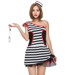 Wholesale Gangster Cosplay Costumes - Black White Striped Prisoner Costume Women Halloween Carnival Cosplay Sexy Mini Dress Convict Stage Performance Dress