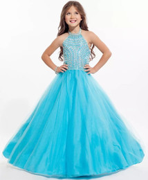 Wholesale Cheap Dresses For Kids - Sky Blue Beading Girls Pageant Dresses 2018 Cheap Ball Gown Princess Flower Girls Dress Crystal Beading Birthday Dress for Kids CS006