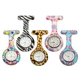 Wholesale Zebra Birthday - Silicone Nurse watches 8 colors Pocket Watch Candy Colors Zebra Leopard Prints Soft band brooch Nurse Watch for Christmas birthday gift