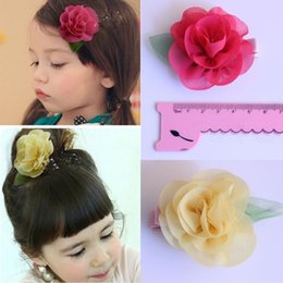 Wholesale Girl Accessories Bulk - NEW Girls Rose flower Hair clip Kids Hair Accessories chiffon Duckbill Clips Bulk SALE PROMOTION Princess Party Hair Barrettes Jewelry H200