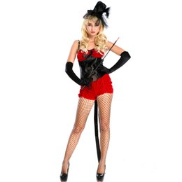 Wholesale Magician Costume Women - Sexy Red Magician Costume for Women Halloween Animal Trainer Carnival Fantasy Cosplay Mage Spaghetti Strap Jumpsuit Outfits with Bow A158636