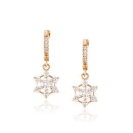 Wholesale Low Price Dangle Earrings - Xuping Elegant Snowflake Shape White Zirconia Dangle Earrings 18K Gold Plated Eardrop for Women Low Price Copper Earrings DH-16-18K0010