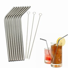 Wholesale metal hot straws - Wholesale-2016 Hot Eco Friendly 8Pcs Stainless Steel Metal Drinking Straw Reusable Straws+3 Cleaner Brush Set Free Shipping