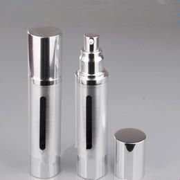 Wholesale Essence Perfume - 50ml Empty Airless Perfume Bottle Cosmetic Vacuum Flask Silver Pump Bottle High Quality Emulsion Bottle Essence Vials F20171788