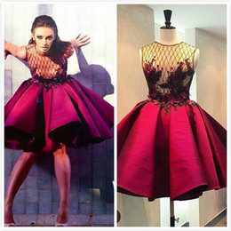 Wholesale Homcoming Dresses - Puffy ALine Short Burgundy Evening Dresses Satin Pleated Ball Gown Sheer Applqiues Party Gowns 2016 Fashion Girl Homcoming Dresses